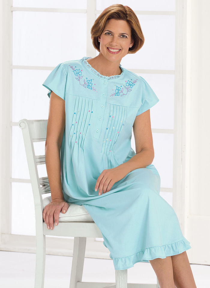 Embroidered Knit Nightgown