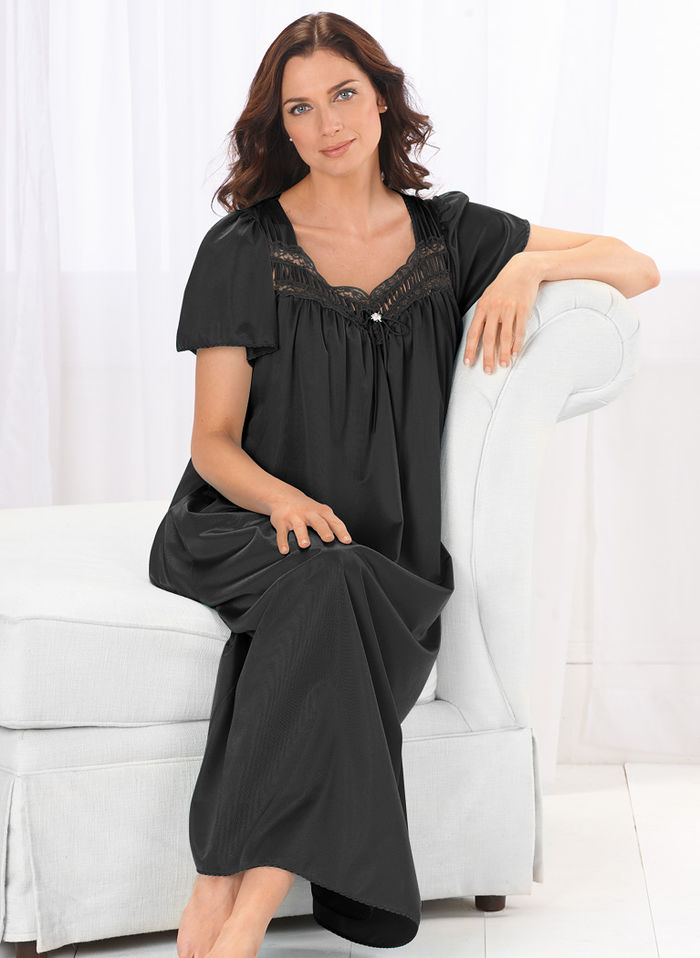 Long Nylon Gown with Lace