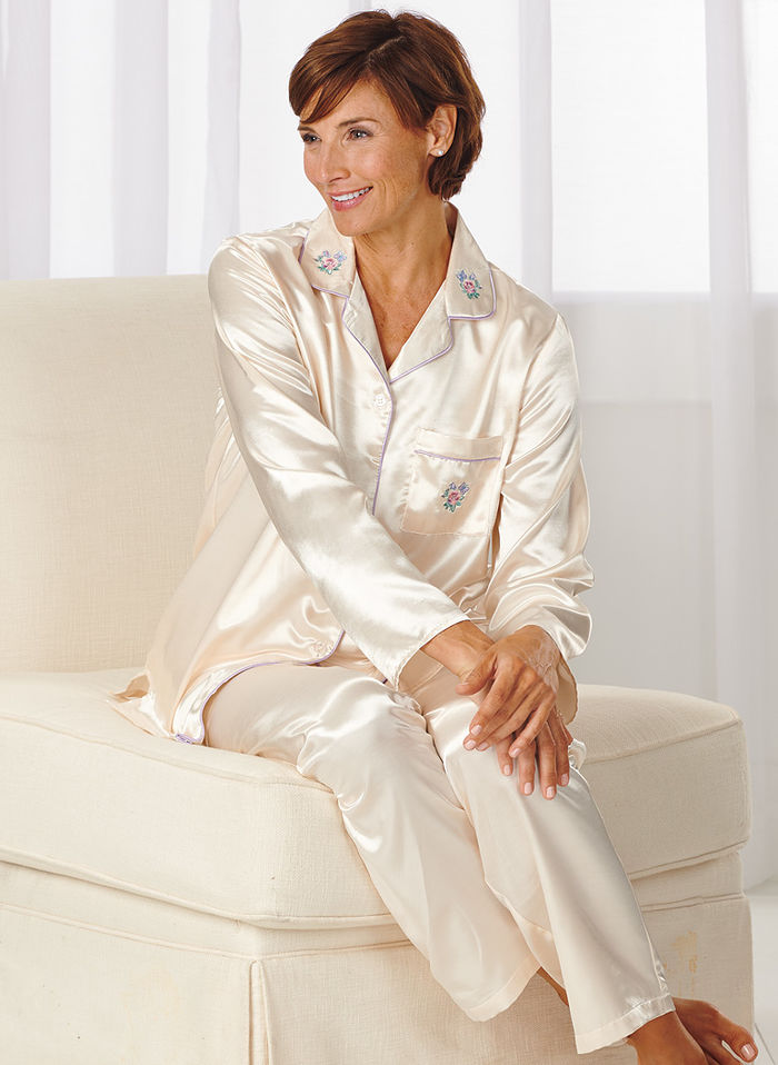 Brushed-Back Satin Pajamas - AmeriMark - Online Catalog Shopping ...