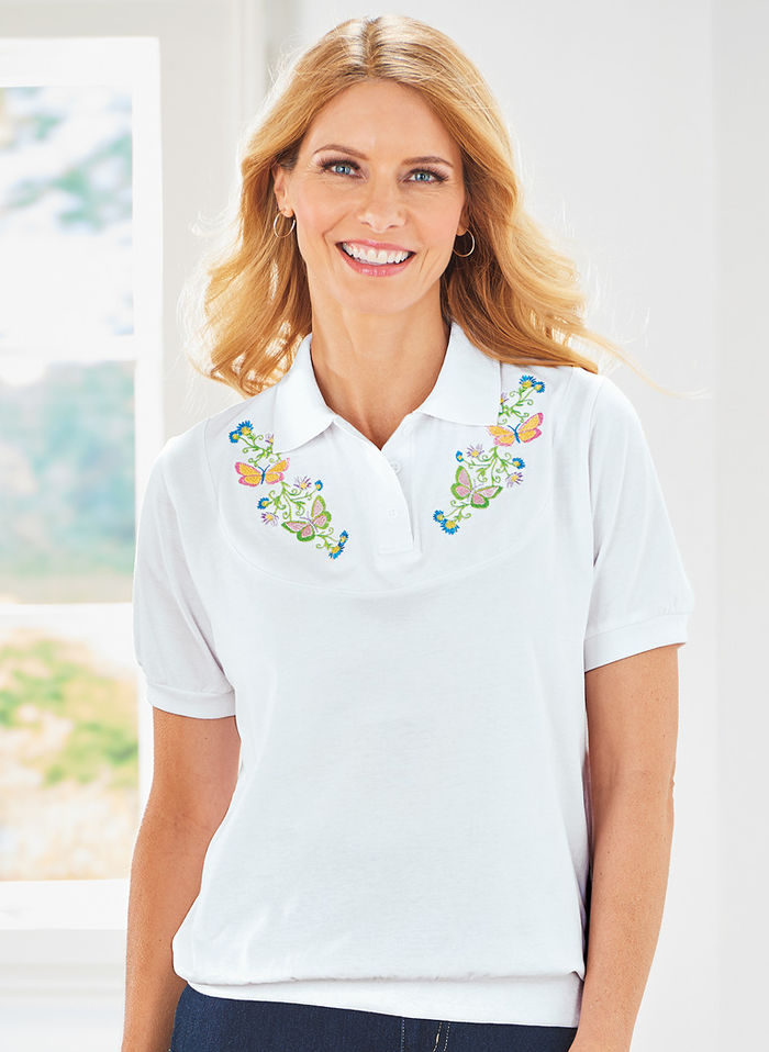Yoke Embroidered Top