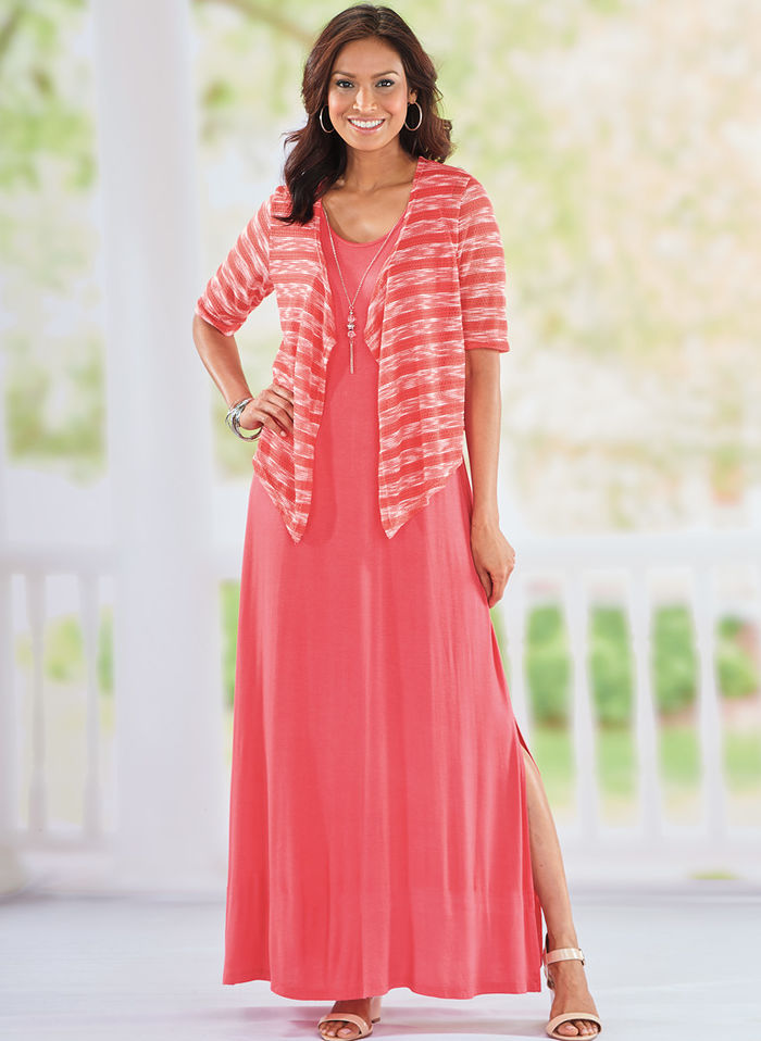 Knit Maxi Jacket Dress with Free Necklace