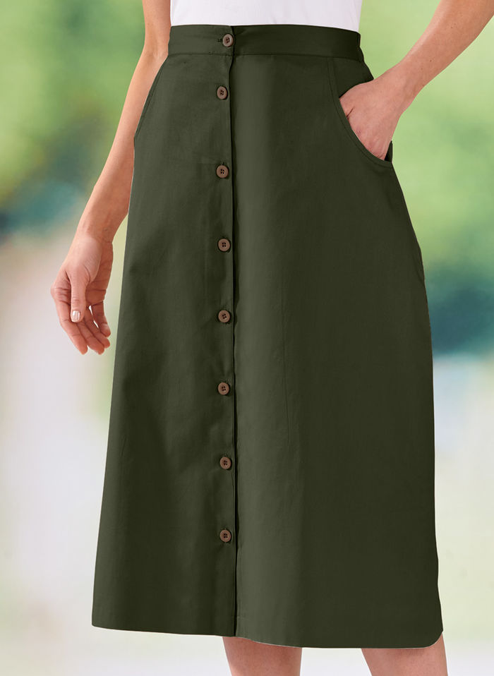 A-Line Button-Front Skirt