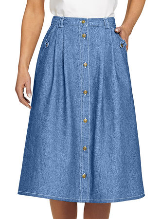 Main Denim Button-Front Skirt