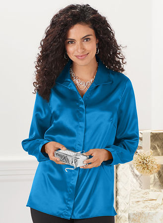 d001ff728df3d5 Main Satin Long Sleeve Blouse hover here for zoom