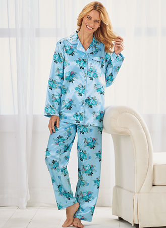 9677e72419 Main Brushed-Back Satin Pajamas ...