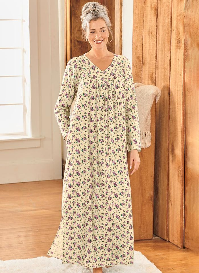Floral Flannel Gown - AmeriMark - Online Catalog Shopping for Womens ...