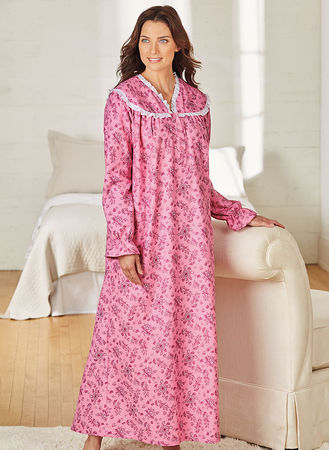 Main Lace Trimmed Flannel Nightgown
