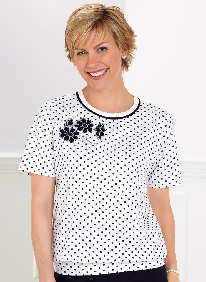 Banded Bottom Polka Dot Top