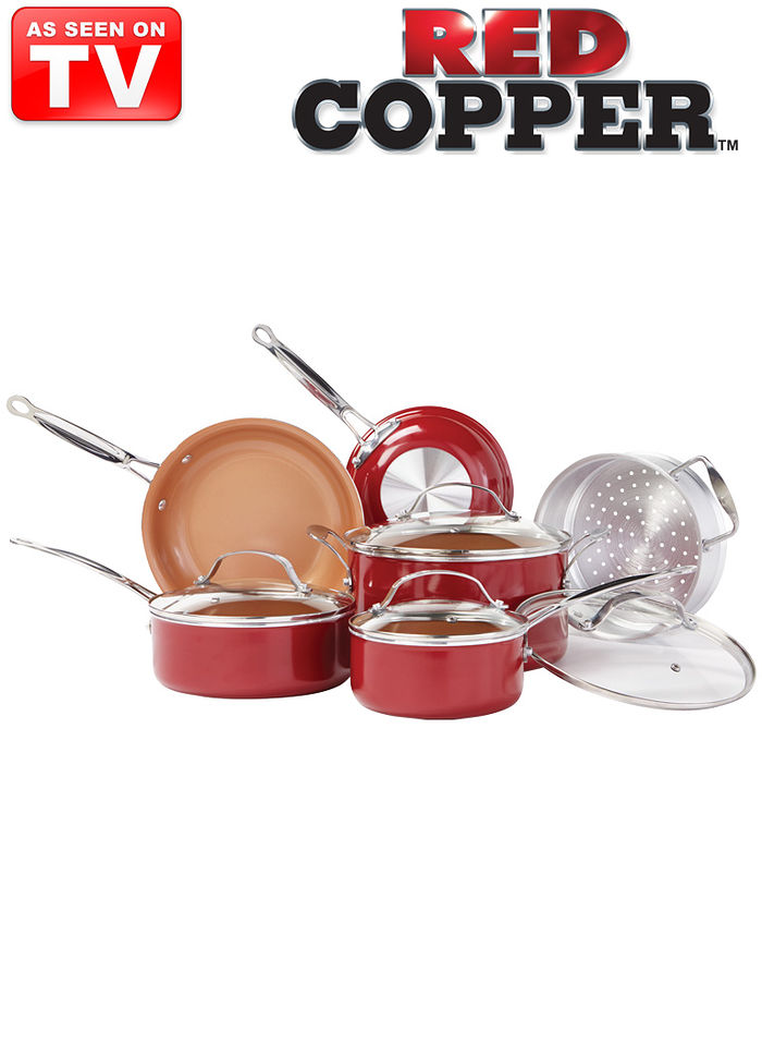 10 Pc Red Copper Pan Set Amerimark
