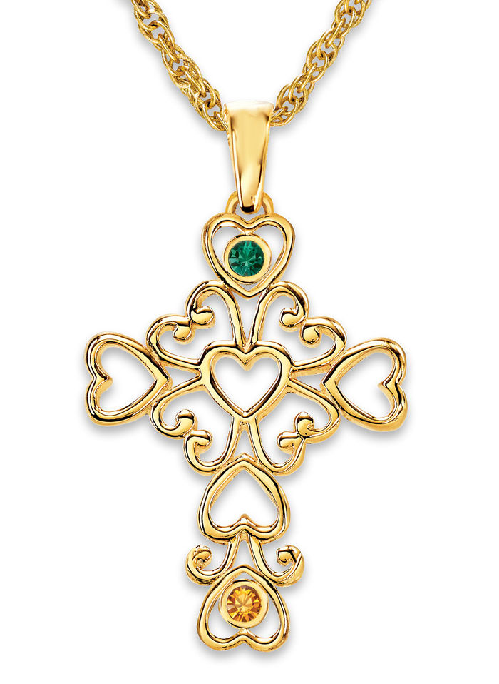 A Mother's Cross Birthstone Necklace, Goldtone