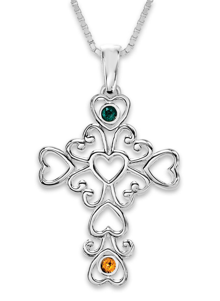 A Mother's Cross Birthstone Necklace, Sterling Silver