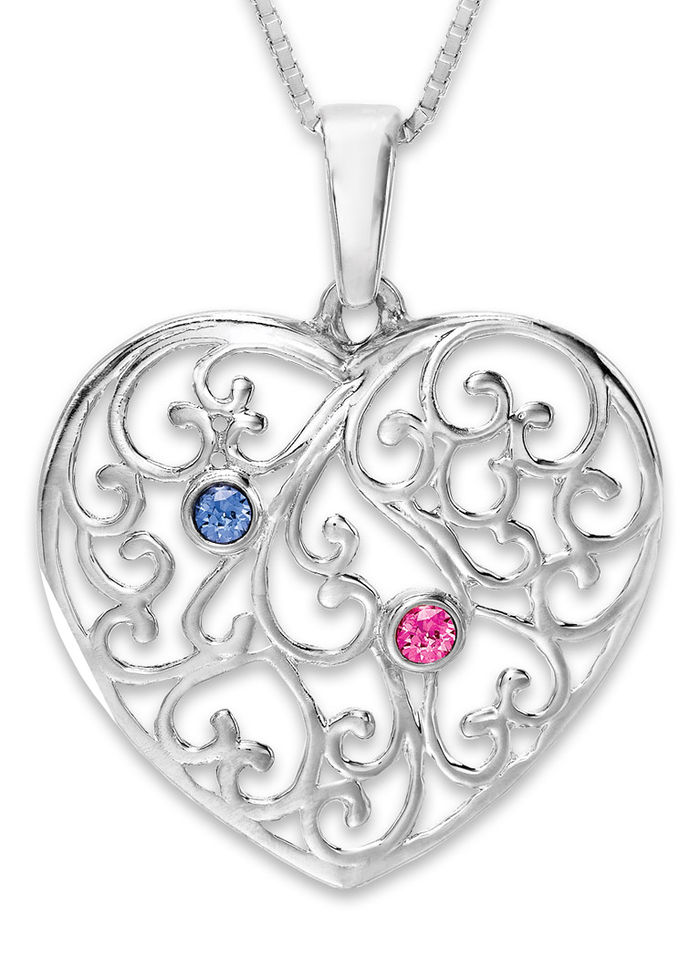 a mother 39 s heart birthstone necklace sterling silver. Black Bedroom Furniture Sets. Home Design Ideas