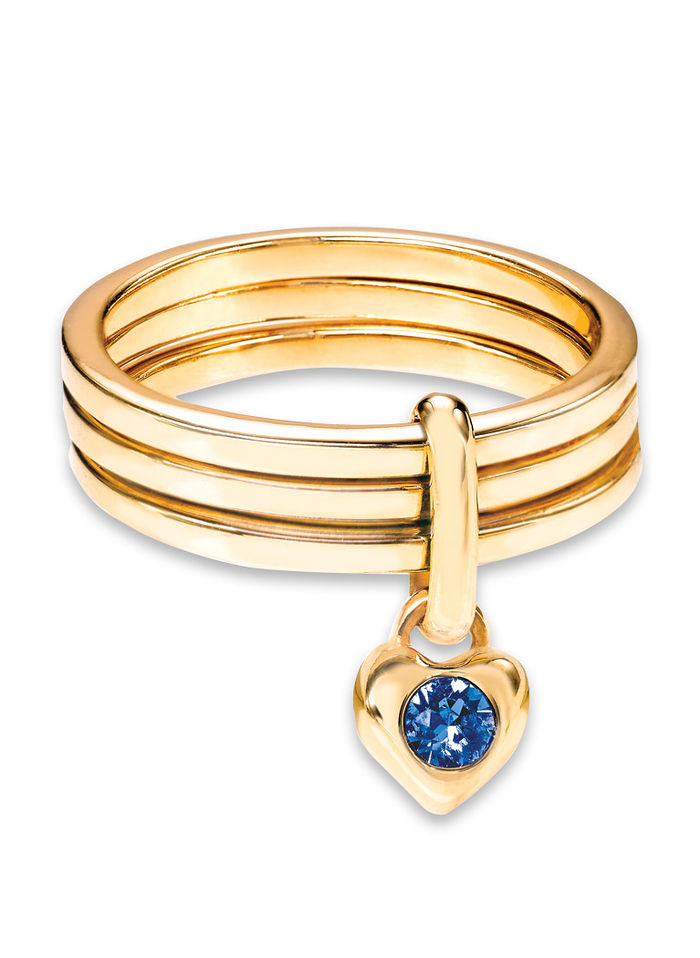 Goldplated Triple-Band Ring with Birthstone Heart Accent