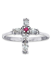 Genuine Ruby Cross Ring