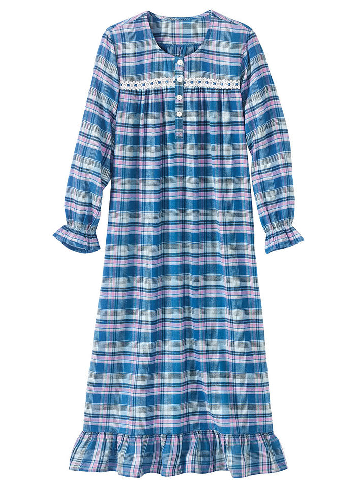 Plaid Flannel Gown - AmeriMark - Online Catalog Shopping for Womens ...