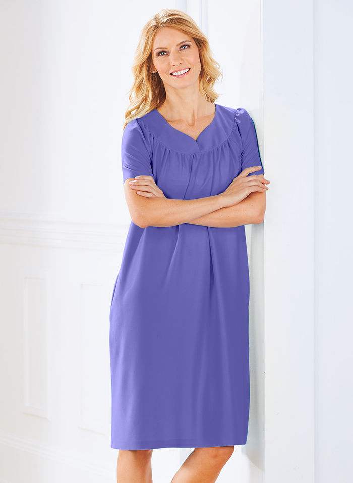 Solid Sweetheart Neck Muumuu with Pockets