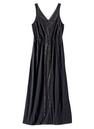 Main Lace Trim Knit Long Nightgown