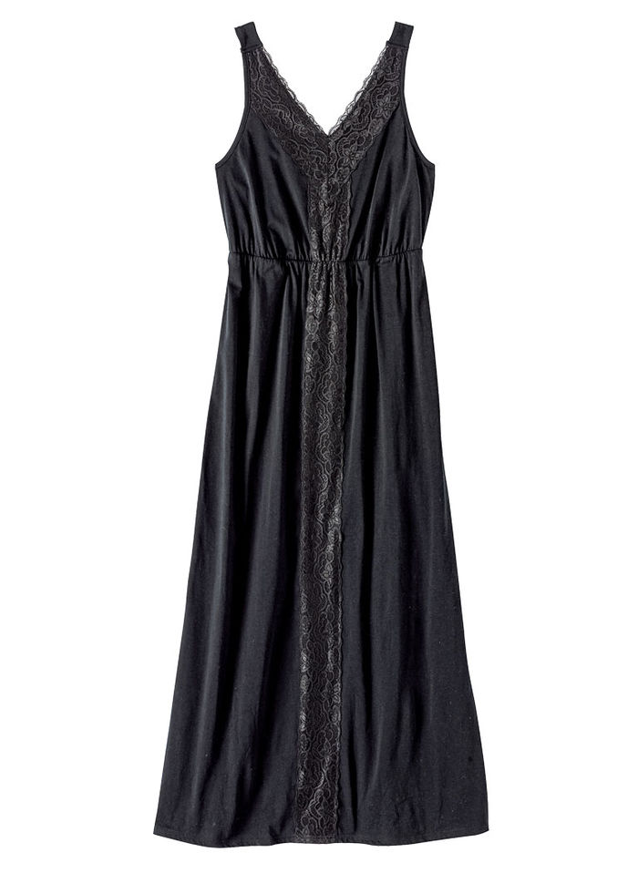 Lace Trim Knit Long Nightgown