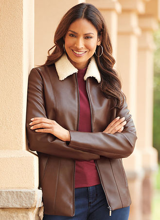 Main Faux Leather Bomber